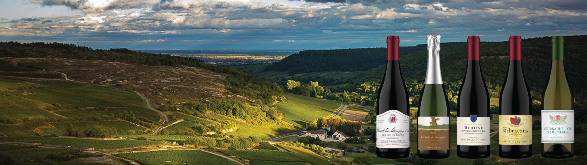 5 Burgundy wines are superimposed over a small winemaking village in Burgundy, France